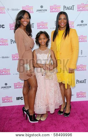 Quvenzhane Wallis and family at the 2013 Film Independent Spirit Awards, Private Location, Santa Monica, CA 02-23-13