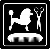 grooming symbol with poodle dog, scissors and comb poster