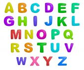 isolated cartoon color plasticine alphabet on a white background poster