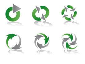 Green and Grey Recycling Vector Logo Designs