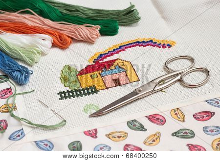 Cross-stitch set with needle, skeins and scissors