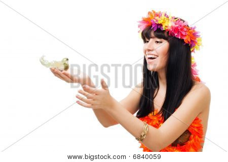 Beauty Shoot Of A Girl With A Bird