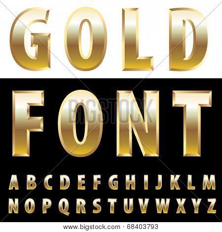 vector alphabet with golden bullion