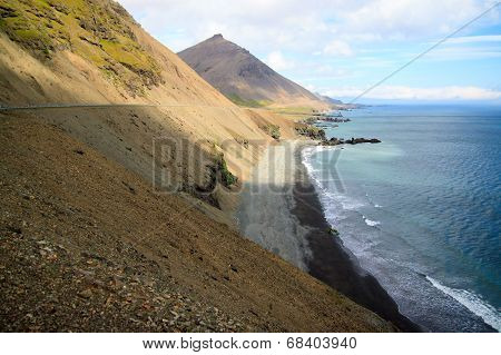 Coast In The East Fjords Iceland.