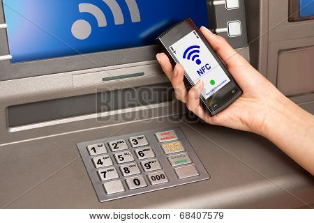 Withdrawing Money Atm With Mobile Phone A Nfc Terminal