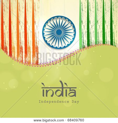 poster of Poster, banner or flyer design in national flag colors with text India for 15th of August, Indian Independence Day celebrations.