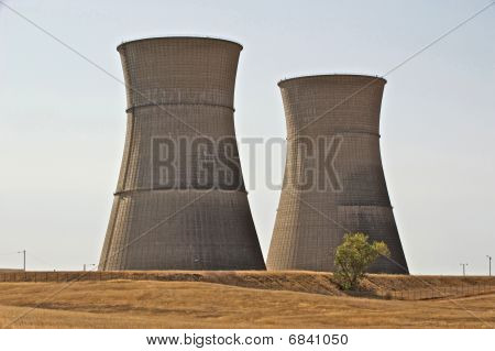 Two Giant Nuclear Cooling Towers loom high above