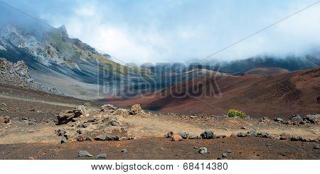 Haleakala Crater With Trails In Haleakala National Park On Maui Island Hawaii Panorama
