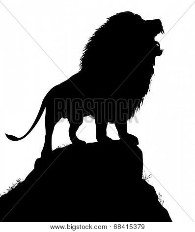 Editable vector silhouette of a roaring male lion standing on a rocky outcrop with lion as a separate object