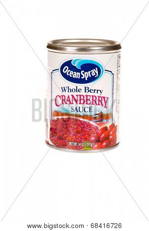 HAYWARD, CA - July 15, 2014: 14 oz can of Ocean Spray Whole berry Cranberry Sauce