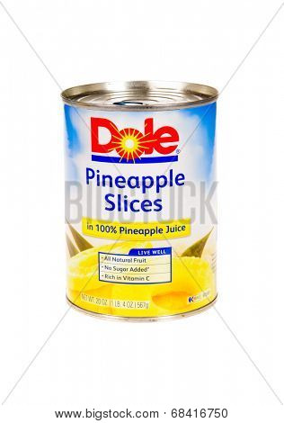 HAYWARD, CA - July 16, 2014: 20 oz can of Dole brand Pineapple slices in 100% pineapple juice