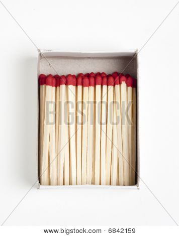 Open Matchbox With Pile Of Matches Inside