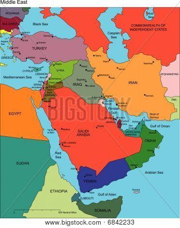 Nahen Osten mit bearbeitbaren Ländern, Namen