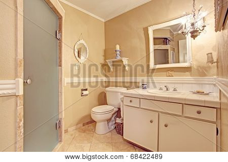 Soft Ivory Empty Bathroom Interior In Old House