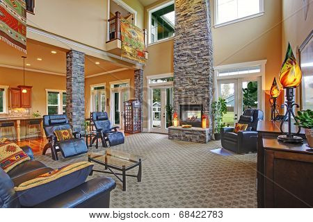 Luxury House Interior. Living Room With Fireplace