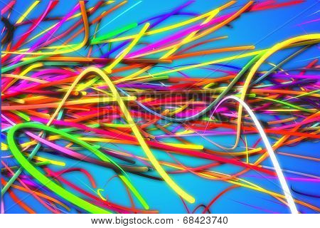 Horizontal Rainbow Strands Line Glow Blue Background