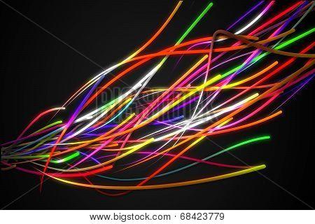 Rainbow Strands Line Glow Dark Background