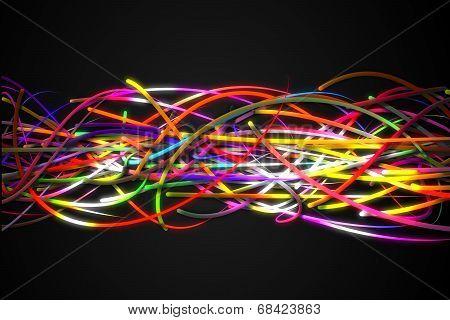 Horizontal Rainbow Strands Line Glow Dark Background