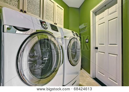 Bright Green Laundry Room Interior