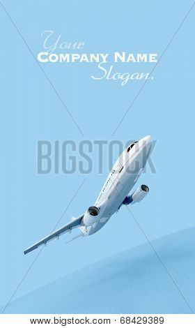 3D rendering of an airplane flying against a blue background