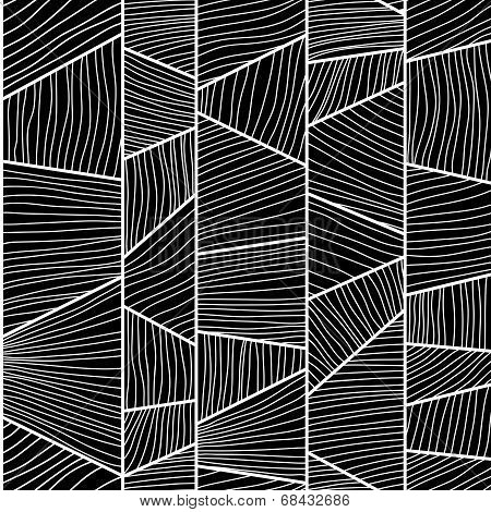 Abstract mosaic wavy Pattern. Seamless vector. Monochrome puzzle background.