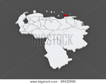 Map of Nueva Esparta. Venezuela. 3d