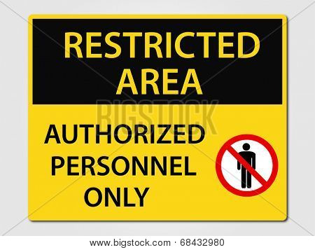 Restricted Area vector sign illustration poster