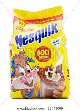 Ankara, Turkey- April 12, 2013: Nestle Nesquik powder isolated on white background.
