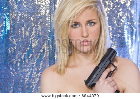 Beautiful Naked Blond Woman With Hand Gun