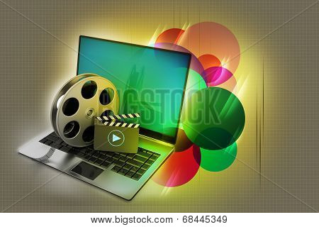 Laptop with reel
