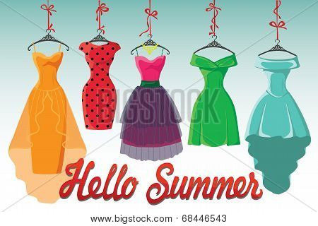Colorful Fashion Colored Dresses Hang On Ribbon.hello Summer!