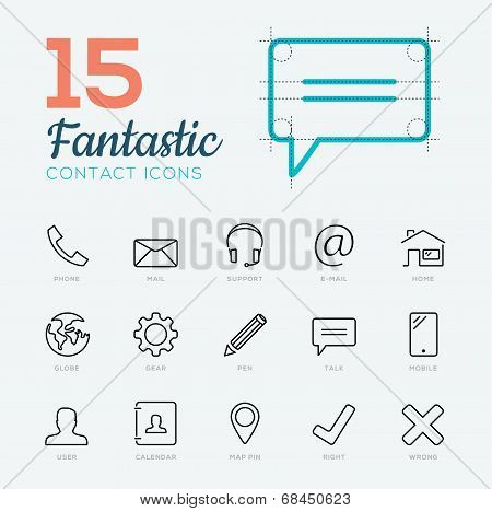 Fantastic flat thin line vector contact & communication icon set