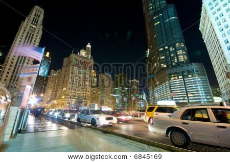 Chicago Evening Traffic and city life