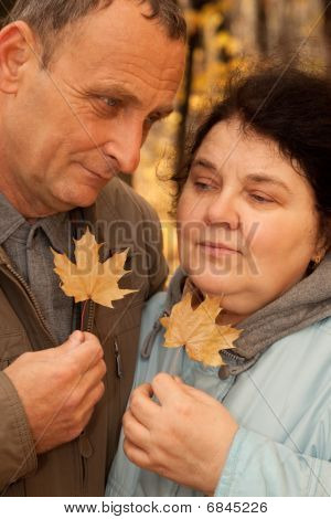 Serious middleaged man and woman hold maple leaves and clasp them to