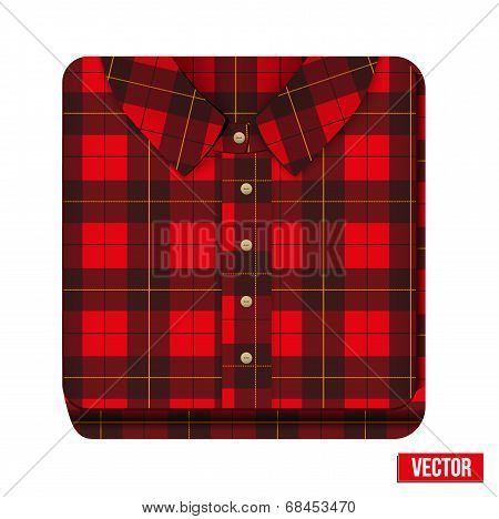Icon flannelet check texture plaid shirt. Premium design. Vector illustration isolated on white background. poster