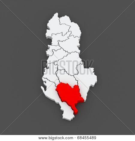 Map of Gjirokastra. Albania. 3d poster