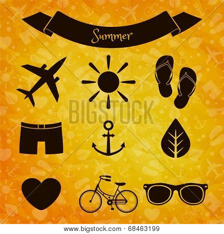 Set Of Summer Icons On Sunny Background
