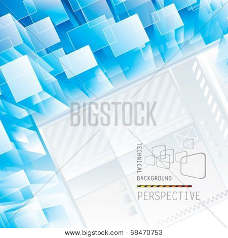 Abstract blue perspective technical background. Vector.