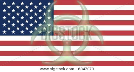 Flag Of United States Of America Health Warning