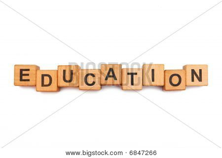 The education inscription made of wooden blocks poster