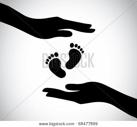 Hand Silhouette Protecting Small Young Newborn Baby Feet Legs