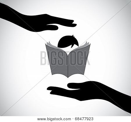 Hand Silhouette Protecting Smart Boy Kid Reading Book Education