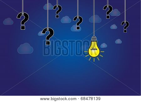 Question Mark & Bright Yellow Light Bulb With Idea Text Hanging. Dark Blue Night Sky & White cloud