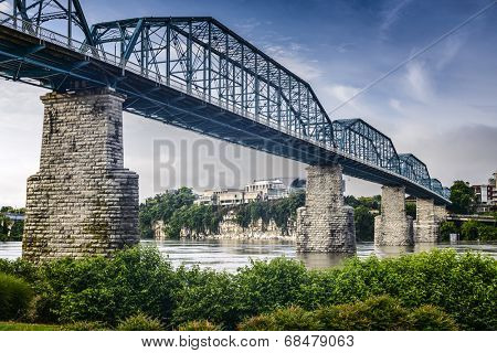 Chattanooga, Tennessee, USA at Coolidge Park and Walnut Street Pedestrian Bridge. poster