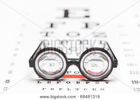 Studio shot of a pair of nerdy glasses on an eye chart with the focus on the glasses isolated on white background