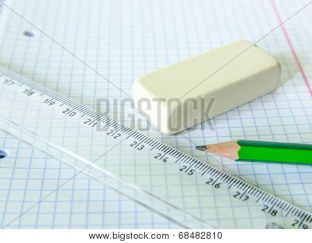 Set Of Exercise Book, Pencil, Rubber And Ruler - School Set
