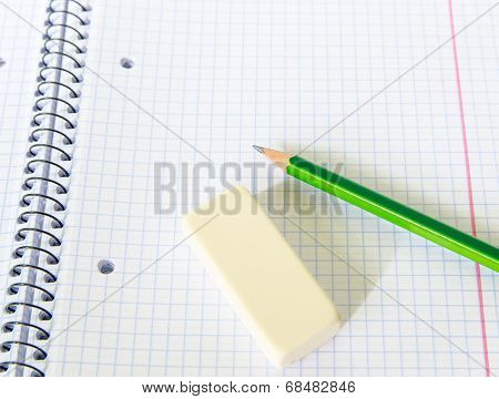 Set Of Exercise Book, Pencil, And Rubber - School Set