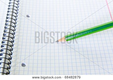 Exercise Book And Pencil Writing