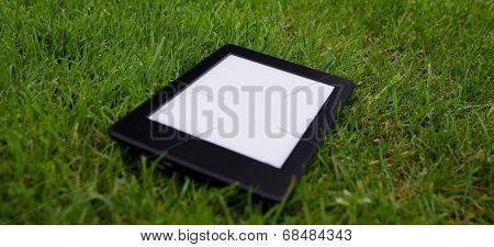 Ebook Reader Lying On Wet Grass