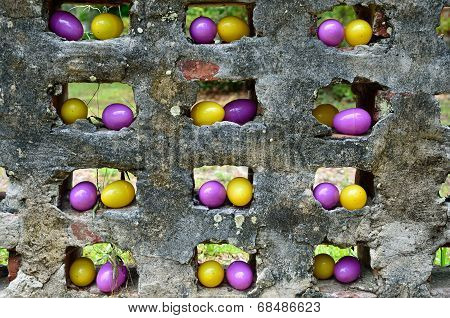 Yellow and purple Easter eggs